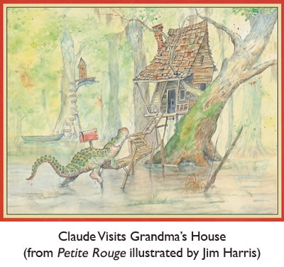 'Claude Visits Grandma's House' from  Petite Rouge, the Louisiana Young Reader's Choice fairytale version of Little Red Riding Hood, illustrated by Jim Harris.