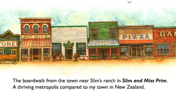 'Old Western Boardwalk'  Original art from children's picture book Slim and Miss Prim, a Western love story (and kidnap tale) for kids, written by Robert Kinerk and illustrated by artist Jim Harris.