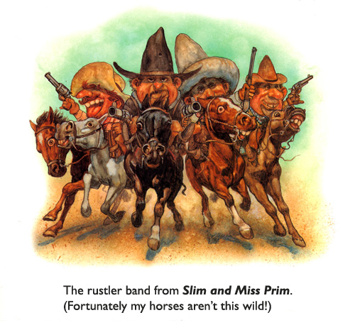 'Rustler Band' Original art from the children's book Slim and Miss Prim.  Four rustlers with five horses... a parody of original art by illustrator Frederic Remington.