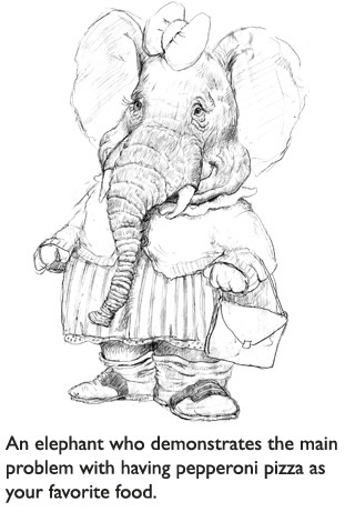'Little Elephant,'  Original pencil sketch for one of the funny characters in The Trouble With Cauliflower, the picture book for picky eaters.
