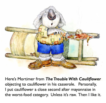 Mort the Koala wants to know, 'Does This Have Cauliflower?'  Original art from The Trouble With Cauliflower children's book illustrated by Jim Harris.