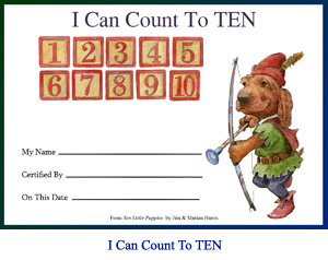 'I Can Count To Ten' Award Certificate. Art of wooden number blocks and puppy archer with spaces for child's name, teacher's name and achievement date.