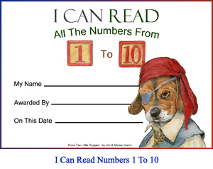 'I Can Read All the Numbers From One to Ten' Award Certificate. Art of beagle-puppy pirate and lines for the student's name, teacher or parent's name, and achievement date.