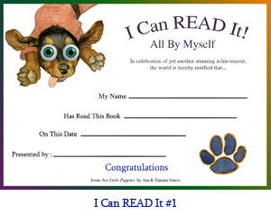 'I Can Read It All By Myself!' Award Certificate.  Art of jumping dachshund puppy and puppy paw with spaces for student's name, teacher or parent's name, book title and presentation date.