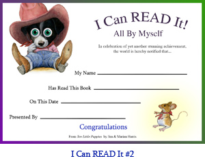 'I Can Read It All By Myself!' Award Certificate.  Art of border collie puppy in cowboy hat with space for reader's name, book title, parent or teacher's name and presentation date.
