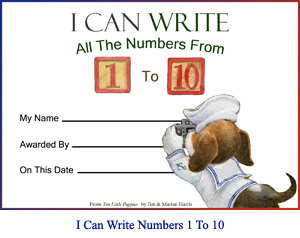 'I Can Write All the Numbers From One to Ten' Award Certificate.  Art of beagle-puppy sailor with camera and spaces for child's name, presenter's name, and achievement date.