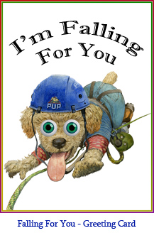 'I'm Falling For You' Greeting Card featuring the rock-climbing poodle from Ten Little Puppies.