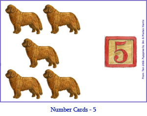 Number Card Five – 5 Newfoundland Dogs