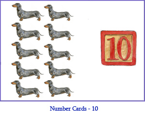 Number Card Ten – 10 Dachshund Dogs