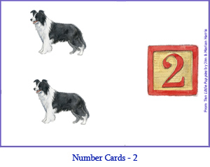Number Card Two – 2 Border Collie Dogs
