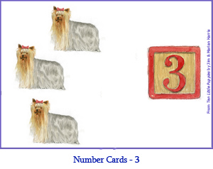Number Card Three – 3 Yorkshire Terrier Dogs