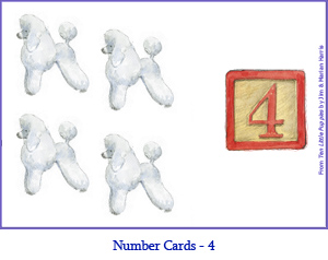Number Card Four – 4 Poodle Dogs