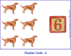 Number Card Six – 6 Irish Setter Dogs