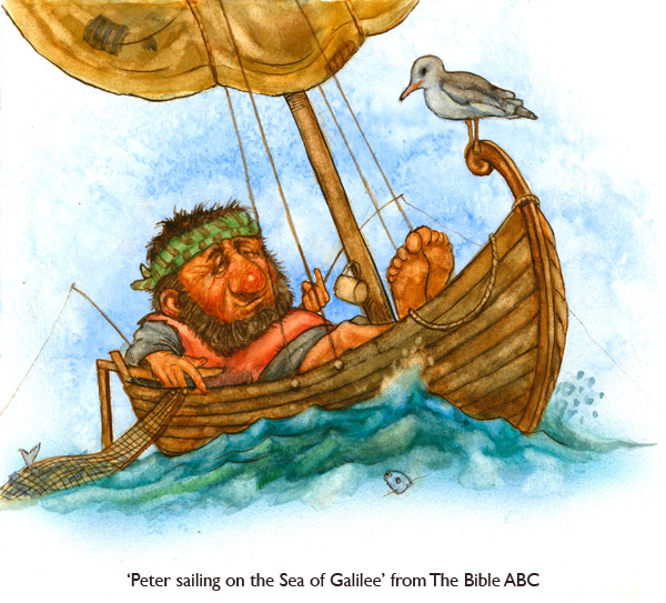 'Peter Sailing on the Sea of Galilee'  Humorous Bible illustration by artist Jim Harris.