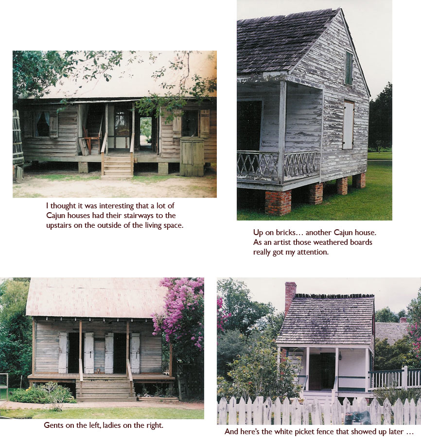 A Cajun house with an exterior stairwell. A Cajun house up on bricks. A Cajun house with double doors. A Cajun house with a white picket fence…