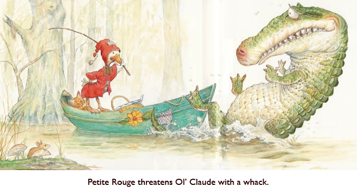 'Claude Knows She Means What She Says!'   Claude, dat 'ol gator, meets a worthy adversary in the Louisiana swamp.  Even the Jim Harris mouse stops nibbling his toadstool and takes note.