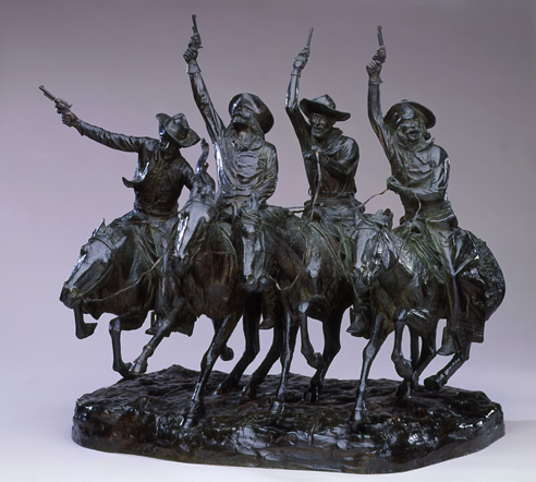 Coming Through The Rye… the Frederic Remington cowboy sculpture parodied in Slim and Miss Prim.