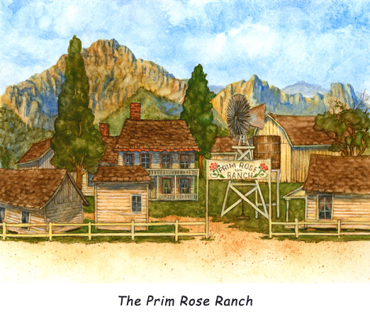 The Prim Rose Ranch.  A lovely scene of tranquility at the Prim Rose ranch headquarters.