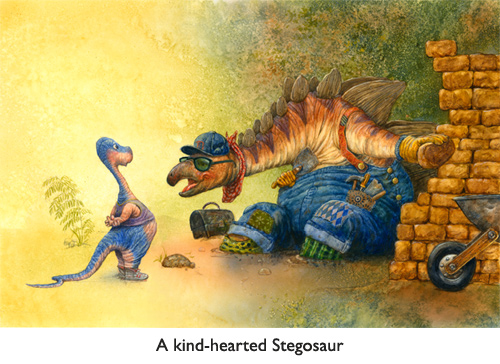 'Stegosaur Sells Bricks'  (And that's a good thing for brachiosaur number two, let me tell you!  That T-rex is creeping closer through the jungle underbrush as we SPEAK!)