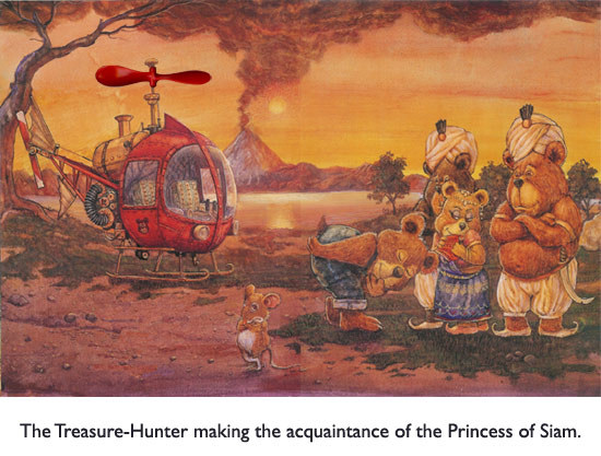 'The Treasure Hunter's Helicopter'  Seems like those bodyguards should be of some use… but no, it's all up to Bear to rescue the personal belongings of the Princess of Siam.
