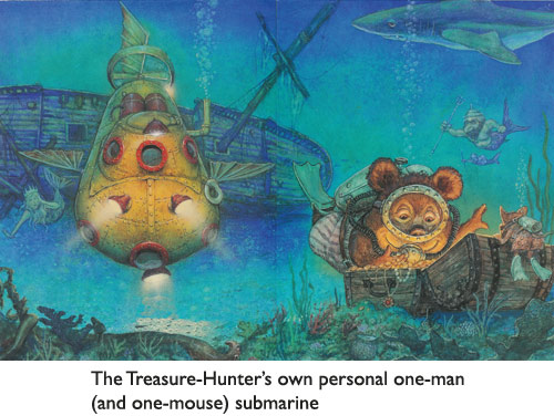 'The Treasure Hunter's One-Man Submarine'  Faithfully painted for publication by fantasy illustrator Jim Harris.  (With technical assistance from Bear, of course.)