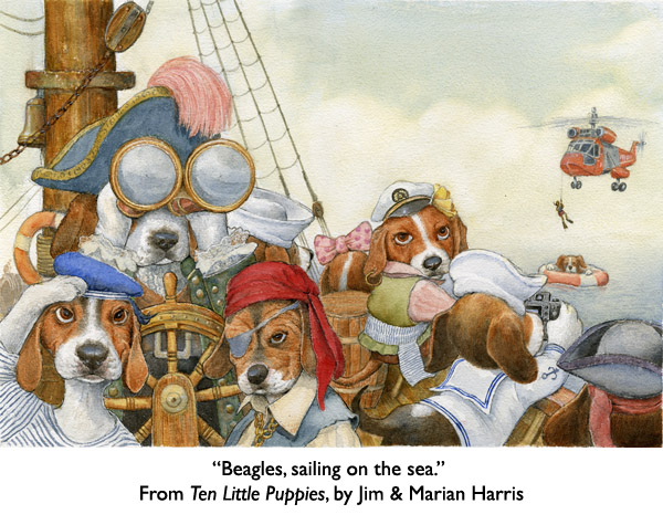 "'Beagles, Sailing on the Sea.""  Beagle puppies from the children's book, Ten Little Puppies."