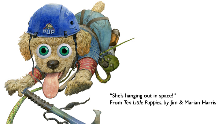"'Poodle, Out in Space.""  Poodle puppy from the children's counting book Ten Little Puppies."