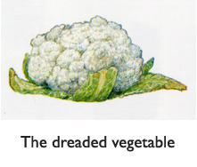 Cauliflower. The dreaded vegetable. Illustrated with a quivering brush by artist Jim Harris.