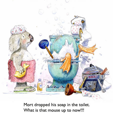 Duck Takes the Plunge.  Mort the Koala Bear dropped his soap in the toilet… so it's up to the duck plumber to get it out.