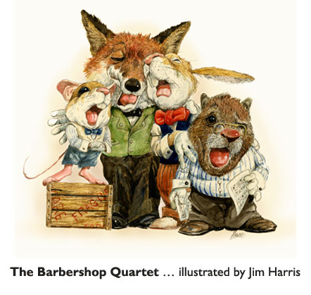 Four of Jim Harris's favorite characters: 'The Barbershop Quartet'  Character development, Jim says, is the most important part of the whole process of illustrating a picture book.