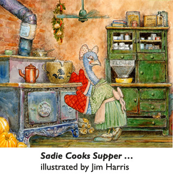 'Sadie Cooks Supper' …on her old-fashioned wood-burning cookstove.  Detailed, traditional watercolor illustration for the picture book 'The Trouble With Cauliflower' by artist Jim Harris.