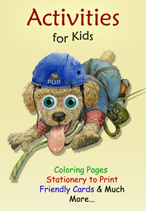 Activities for Kids!  Stationery with art from popular children's books, sketches to color from award-winning picture books, and friendly cards with colorful children's book illustrations by Jim Harris.