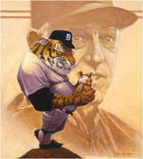 'Detroit Tigers… Sparking Along'   Realistic detailed sports mascot and celebrity player art by award-winning sports illustrator Jim Harris.
