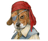 Pirate Puppy.  Cute, colorful animal characters for kids books.  Realistic illustration by Jim Harris for the counting book 'Ten Little Puppies.'