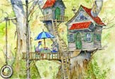 Australian Tree House.  Whimsical nature scenes in colorful watercolor from the portfolio of children's illustrator Jim Harris.